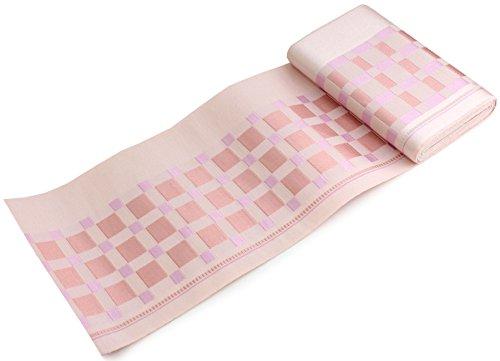 不毛ノベルティ神聖きもの京小町 正絹 単帯 博多織 半幅帯 ピンク地格子柄 浴衣帯 日本製