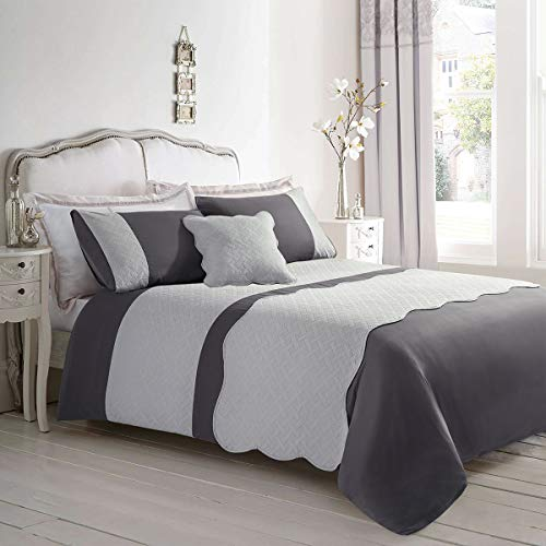 ARTALL 5-Piece Embossed Duvet Cover Set Geometric Lattice, Luxury Comforter Cover(1 Duvet Cover, 2 Pillowcase, 1 Cushion Cover, 1 Bed Runner), Gray, King Size (Bed And Cushion Sets Runners)
