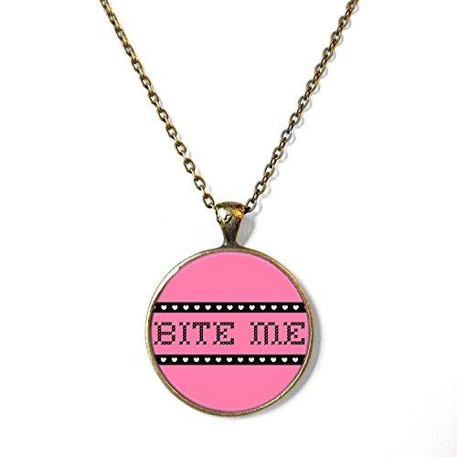 Pink Faux Cross Stitch Bite Me Necklace, 18