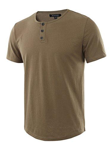 HETHCODE Men's Classic Comfort Soft Regular Fit Short Sleeve Henley T-Shirt Tee Military XXL