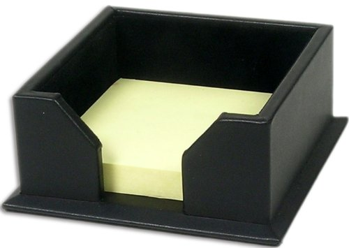 Dacasso Black Leather Note Holder, 3-Inch by 3-Inch
