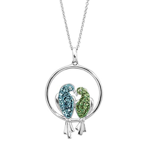 Crystaluxe Love Birds Pendant Necklace with Swarovski Crystals in Sterling Silver