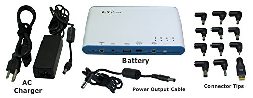 BiXPower High Capacity 96Wh (or 26,000mAh) Multi Outputs (5V, 11V, 16V/19V/24V) Rechargeable Battery Pack with 12 Connectors - BiXPower BP100 ()