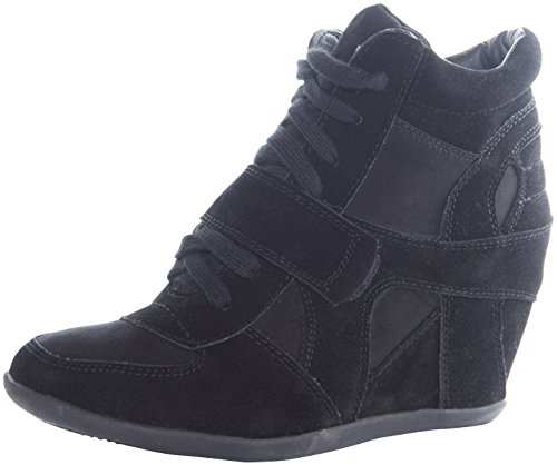 Breckelle's Metro-01 Lightweight Wedge Lace Up BootAnkle Bootie BLACK 5.5