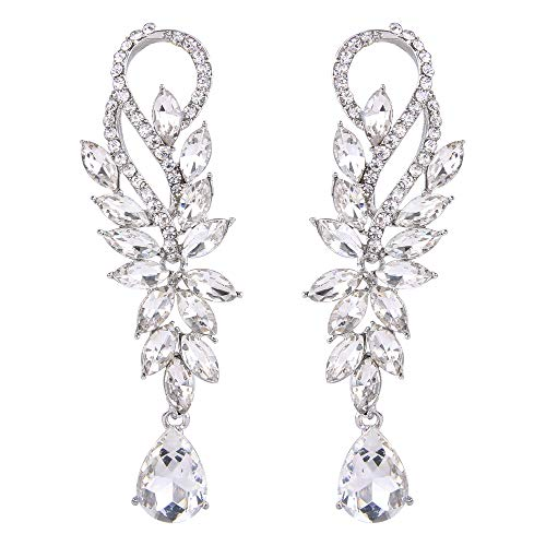 Love One Marquise Ring (BriLove Fashion Bridal Dangle Earrings for Women Crystal Marquise Shape Teardrop Chandelier Earrings Clear Silver-Tone)
