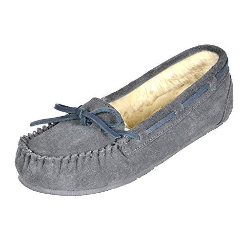 DREAM PAIRS Women's Shozie-01 Grey Faux Fur Slippers Loafers Flats Shoes Size 7.5-8 M US from DREAM PAIRS