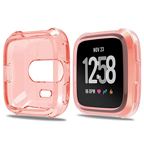 Lilycase Compatible for Fitbit Versa Case, Scratch-Resistant Soft Flexible TPU Plated Lightweight Protective Protector Bumper Shell Cover Compatible for Fitbit Versa SmartWatch - T-Pink
