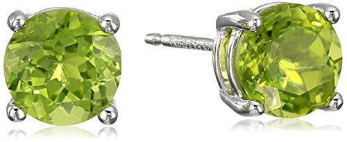Peridot Stone Earrings (Sterling Silver Genuine Peridot Round August Birthstone Stud Earrings)