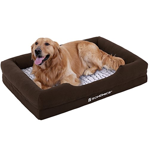 SONGMICS Orthopedic Plush Pet Dog Bed Comfortable with Removable Washable Cover Large Size 43 x 31 inch Brown (Nuzzle Nest Dog Pet Bed)