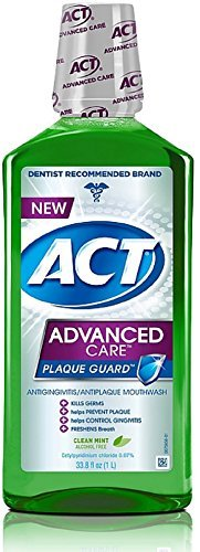 ACT Advanced Care Plaque Guard Mouthwash, Clean Mint 33.80 oz (Pack of 2)
