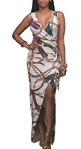 Dress Bodycon Chain Jaycargogo Split Sleeveless As V Wrap Long Womens Picture Neck xzAYTqn6Y