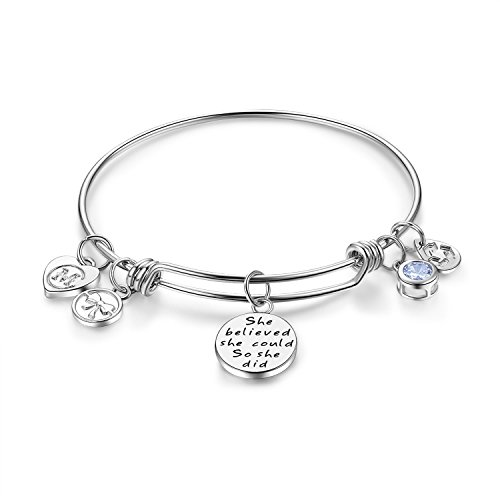 Women's Charm Wire Bangle She Believed She Could So She Did Inspirational Jewelry Girls Expandable Bracelets Gifts