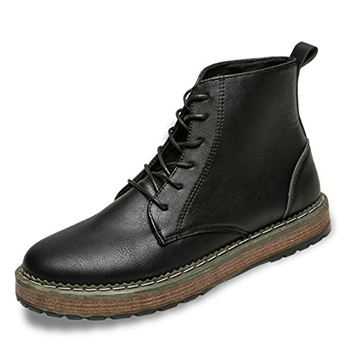 Men's Shoes Feifei Winter Fashion Keep Warm High Help Leather Shoes 3 Colors (Color : Black, Size : EU39/UK6/CN39)