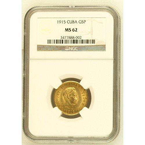 5 Pesos MS62 NGC Graded Gold Coin - Caribbean 1915 - Ngc Ms62 Gold Coin