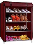 YUTIRITI 4 Layer Maroon Shoe Rack with Cover Space Saver Storage Organiser - Maroon