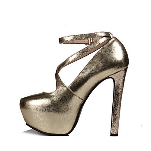 Scarpe Da Donna Oro Tacchi Alti Primavera / Estate Tacco Spesso Scarpe Piattaforma Di Pelle Nightclub Sexy Oro (11 Cm)