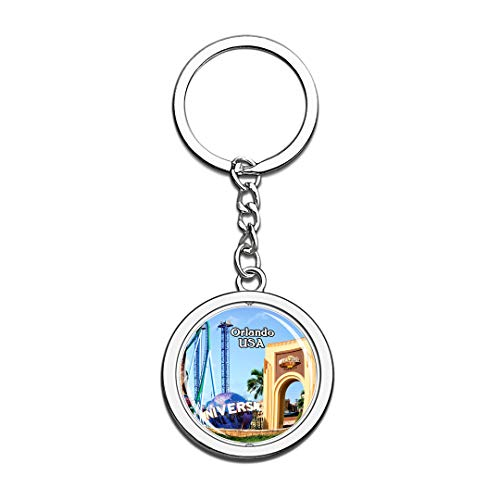 (USA United States Keychain Universal Studios Florida Orlando Key Chain 3D Crystal Spinning Round Stainless Steel Keychains Travel City Souvenirs Key Chain)