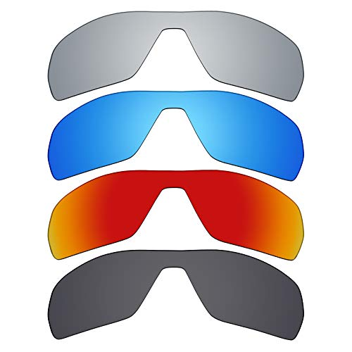 Mryok 4 Pair Polarized Replacement Lenses for Oakley Offshoot Sunglass - Stealth Black/Fire Red/Ice Blue/Silver ()