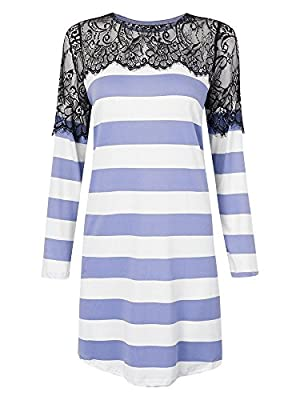 Women Lace Crochet Hollow Patchwork Striped Loose Sexy T-shirt