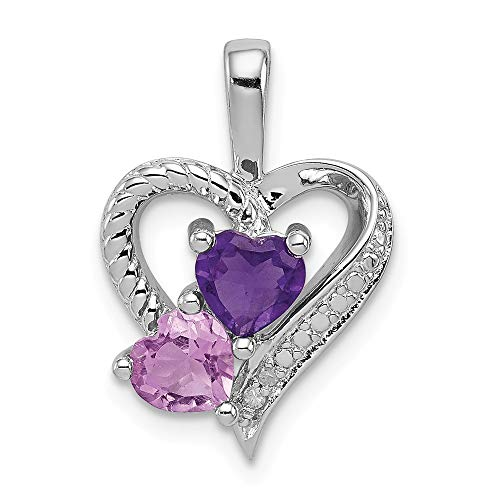 925 Sterling Silver Purple Amethyst Pink Quartz Diamond Pendant Charm Necklace Gemstone Fine Jewelry Gifts For Women For Her