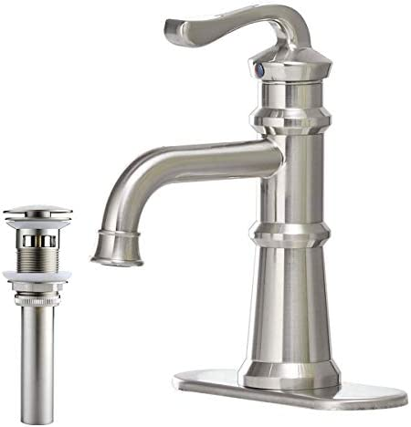 Greenspring Bathroom Sink Faucet Brushed Nickel Waterfall Spout Single Handle Commercial One Hole Lavatory Deck Mount