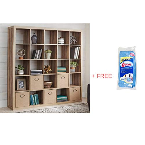 Better Homes and Gardens.. 25 Cube Organizer Room Divider, Weathered + Free Microfiber -