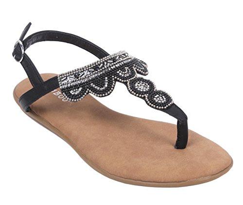 Bamboo Womens Thong T-Strap Flat Sandals Slip-On Slingback Buckle Closure Jewells Beaded Embroidery Shoes Black-2 VAV2ybDx
