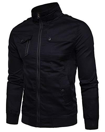 Bomber Abrigo Chaqueta Cazadora Negro Collar Hombre QitunC para Cremallera Pie De qSAzA5nO
