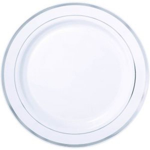 Silver Rimmed White Dinner Plate, Round Silver Rimmed Plate - 7.5