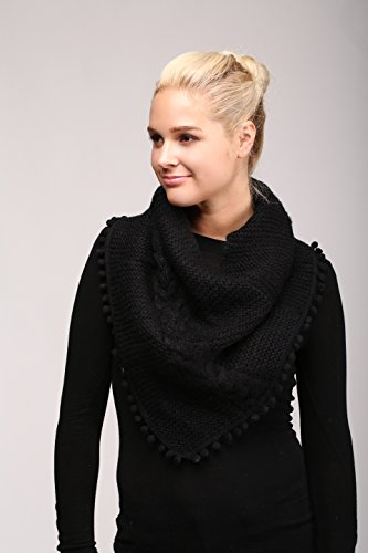 Women's Knitted Loop Tube Infinity Collar Scarf with Pom Poms (Black) by LOVE OF FASHION (Image #2)