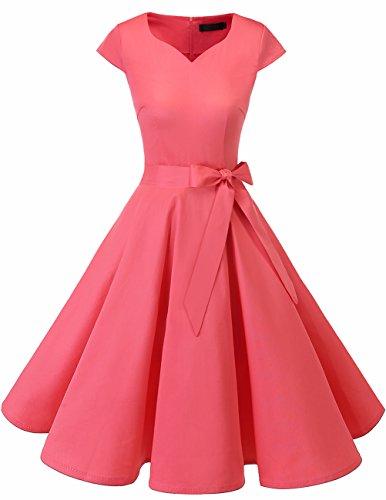 Vintage Retro Rosa Mujer De Cóctel Dresstells Vestido Años 50 Corto zHwqYnx6