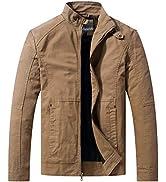 WenVen Men's Casual Cotton Jacket Outdoor Lightweight Windbreaker Jacket Stand Collar Jacket Mili...