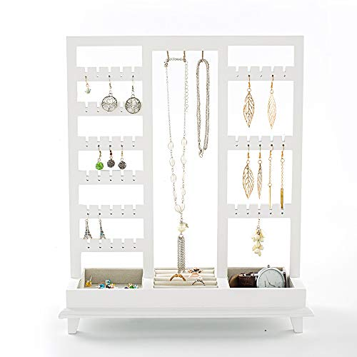 (INART Jewelry Stand Display Earring Organizing Wire Metal Jewelry Tower with Ring Tray)