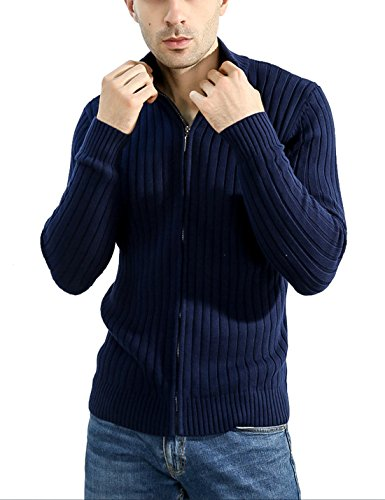 Lentta Men's Long Sleeve Stand Collar Full Zip up Solid Cotton Cardigan Sweater (X-Large, Dark Blue) by Lentta
