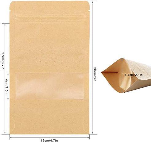 Biscotti Tee 13*21cm SumDirect 50 pezzi Sacchetti con Chiusura di Kraft Carta Zip Richiudibili con Foglio di Mylar Rivestito,Buste per Alimenti Imballaggio per Chicco Di Caff/è Foglia