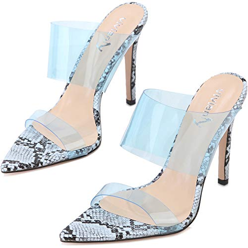 vivianly Womens Sexy Clear High Heels Transparent Strap Pointed Toe Mules Sandals Stiletto Heel Slip on Dress Shoes