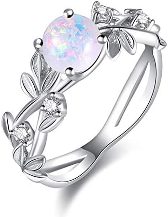 Size 8 LMCIEZR Cute 925 Silver Ring White Fire Opal Created Opal Hammered Wave Solitaire Wedding Engagement Promise Ring Women