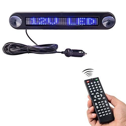 Leadleds Dc 12v Remote Led Car Sign Programmable Scrolling Message Sign Board for Car, Shop, Store (Blue)