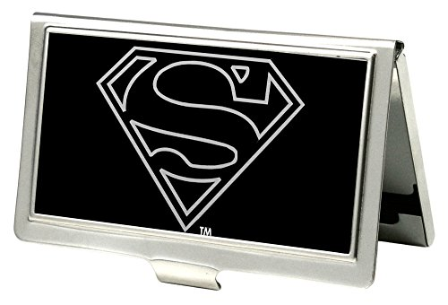 Buckle-Down Business Card Holder - Superman Outline Reverse Brushed - (Pet Business Cards)