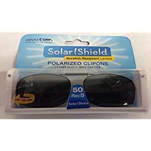 SOLAR SHIELD Clip-on Polarized Sunglasses Size 50 Rec 5 Black Full Frame NEW