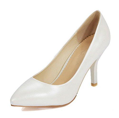 Bianco Delle punta Pompe Solidi tacco calzature Pu Donne Chiuso Alto Amoonyfashion gIgFvq
