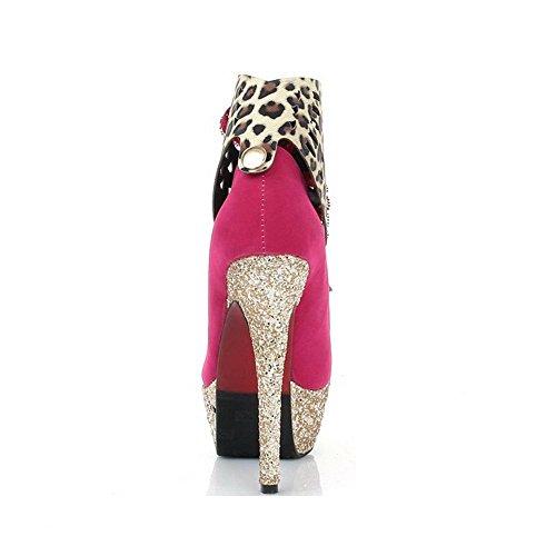 AllhqFashion Damen Mattglasbirne Rund Zehe Stiletto Schnüren Gemischte Farbe Pumps Schuhe Rosa