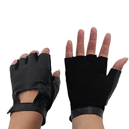 Evaliana Genuine Leather Sheepskin Fingerless Driving Gloves Motorcycle Biker