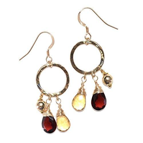 - Hammered Circle Golden Citrine, Red Garnet Dangle Earrings Gold / Drop Earrings, Stud Earrings, Thread Earrings