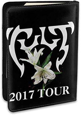 The Cult Rock Band Tour 2017 Logo カルトロックバンドツアー パスポートケース メンズ レディース パスポートカバー パスポートバッグ ポーチ 6.5インチ PUレザー スキミング防止 安全な海外旅行用 収納ポケット 名刺 クレジットカード 航空券
