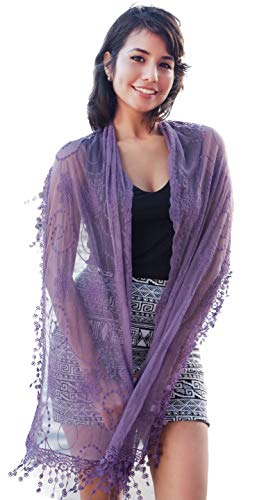 Cindy and Wendy Lightweight Soft Leaf Lace Fringes Scarf shawl for Women (TYH-PURPLE)