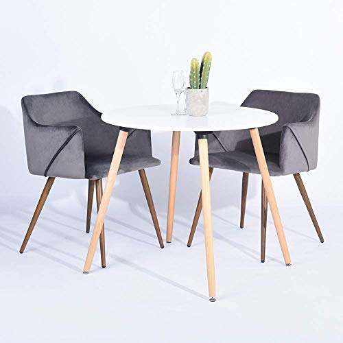 - HOMY CASA Modern Velvet Dining Room Chairs, Large Fabric Side Chairs with Metal Leg for Kitchen Dining Room Bedroom Leisure Chairs Set of 2, Grey