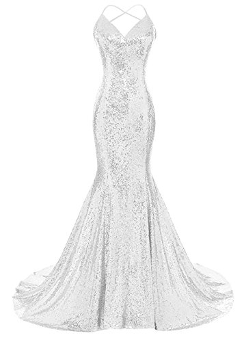 DYS Women's Sequins Mermaid Prom Dress Spaghetti Straps V Neck Backless Gowns White US 6 (White Prom Dress Backless)
