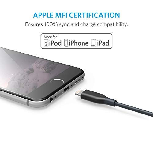 Anker Powerline 1ft Lightning Cable, MFi Certified for iPhone Xs/XS Max/XR/X / 8/8 Plus 7/7 Plus / 6/6 Plus / 5S (Space Gray)