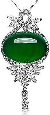 WEIKAI Collar para Mujer Bowknot Calcedonia Jaspe Colgante De Ágata Verde Grupo con Incrustaciones De Ojo De Caballo Colgante De Flor De Diamante Completo Delicado